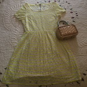 Maison Jules Short Sleeved Lace Dress L